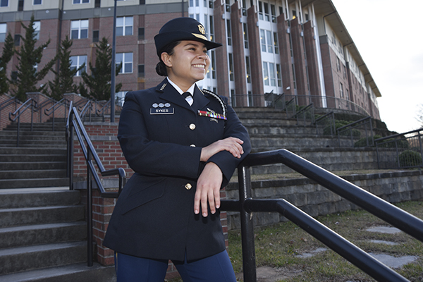 As Foxtrot Company commander and resident assistant in the Corps of Cadets, Cadet Capt. Eva Sykes has found one of the best ways to make an impact is with an empathetic approach.